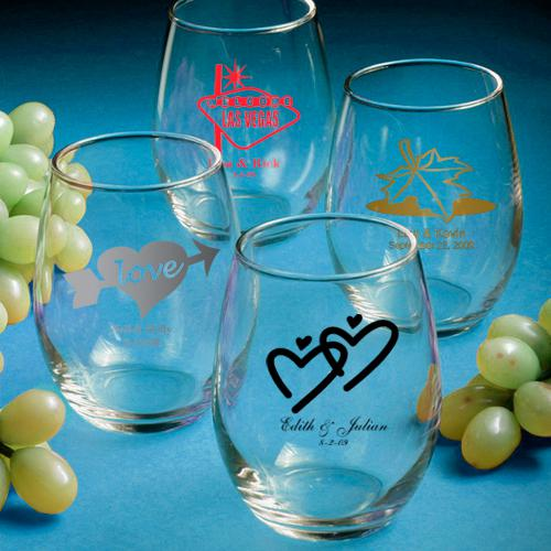 Personalized Stemless Wine Glasses Wedding Favors 1180875