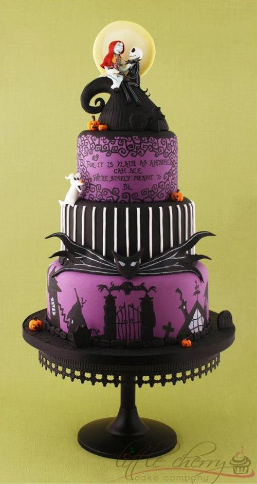 Hand-painted Nightmare Before Christmas Violin Wedding Cake ♥ Tim ...
