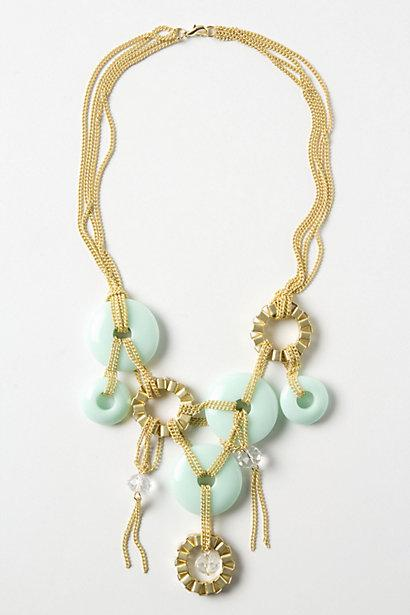 Wedding - Chained Discs Bib Necklace - Pale Green Handmade Necklace with Gold Chain