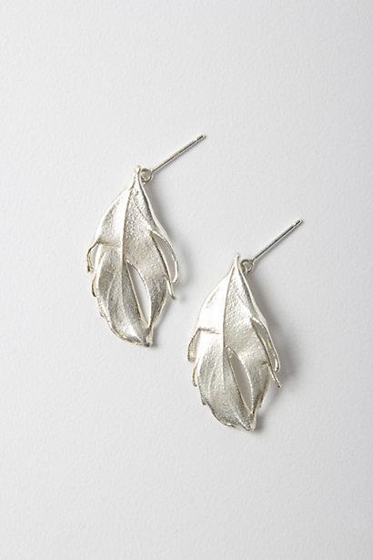 Wedding - Sterling Feather Earrings - B