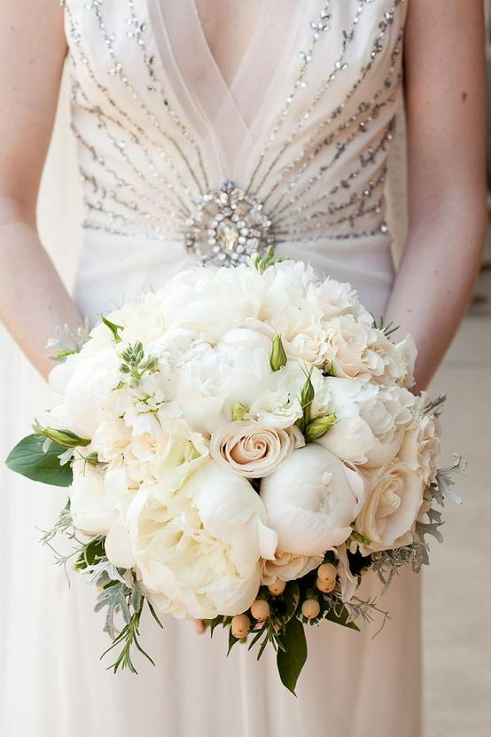 Classic White Roses And Peonies Wedding Bridal Bouquet 1411594