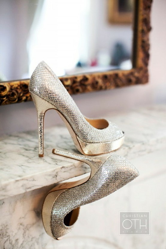 fashionable wedding shoes sparkly wedding high heels