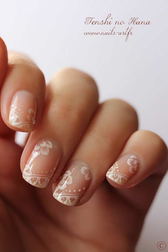 Lace Wedding Nails Art With Nail Art Stamp Tool 1629211 Weddbook