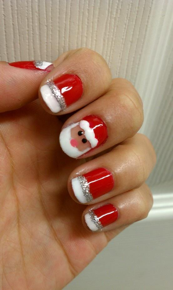 Belle et facile christmas santa nails art designs cr atif et unique p re no l nail design - Nail art noel facile ...