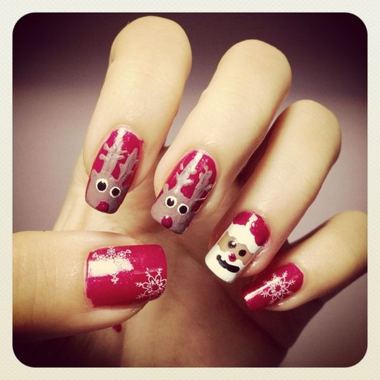 Creative and Unique Xmas Holiday Nail Design ♥ Santa and Reindeers  Christmas Nails with Snowflakes Nail Stickers - Creative And Unique Xmas Holiday Nail Design ♥ Santa And Reindeers