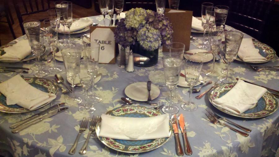 Wedding - blue, white, table setting, decoration, reception, china, hydrangea