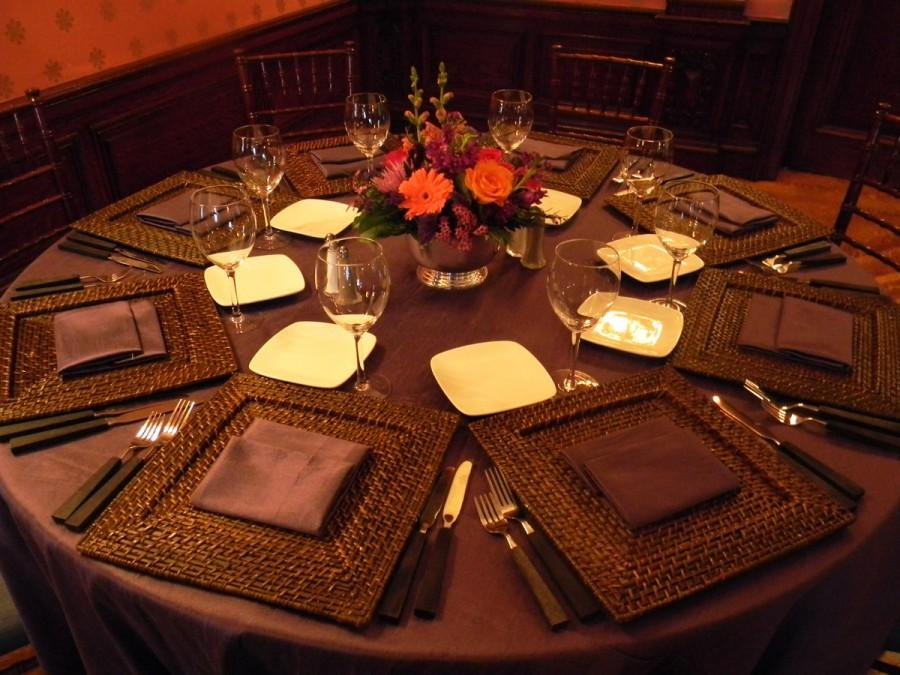 Brown Orange Wicker Table Setting Place Setting