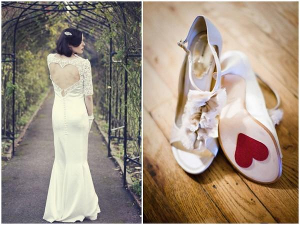 Valentine S Day Wedding Dress And Shoes Idea Lace Heart Open Back