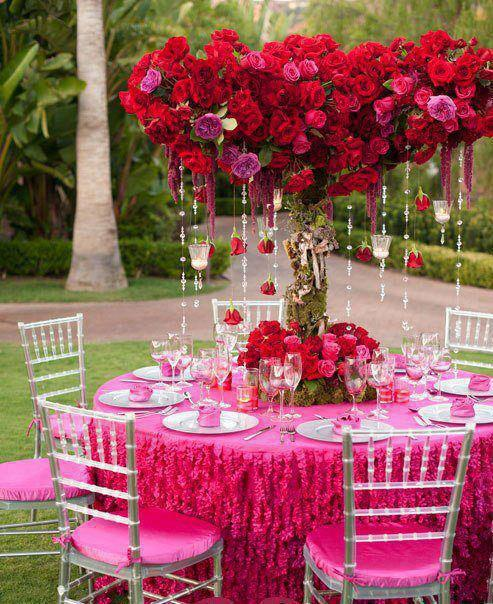 Wedding - Hot Pink Garden Wedding Decors ♥ Red Roses and Diamond Garland Acrylic Crystal Beads Wedding Centerpiece