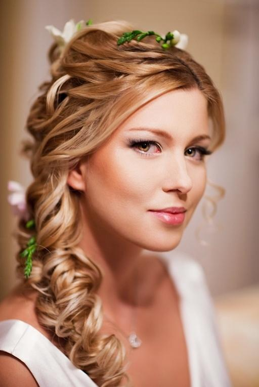 Wedding Loose Side Braided Hairstyles With Pink Flower Detail