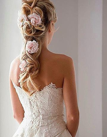 Wedding - Half Up Half Down Wedding Hairstyles With Pink Flowers ♥ Beach Wedding Hairstyles