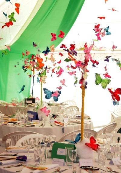 Beautiful Wedding Decor With Colorful 3d Butterflies 1919765 Weddbook