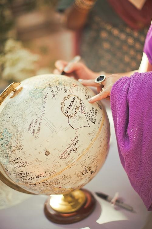 Wedding - Creative Vintage Globe Guestbook ♥ Unique Vintage Wedding Guestbook Idea
