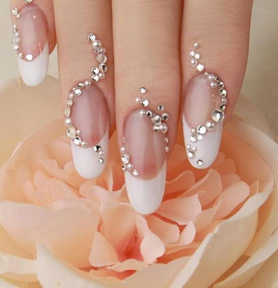 Unique And Creative French Manicure Wedding Nail Design With Crystal Rhinestone Sticker