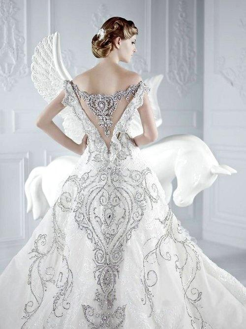 Lace wedding lace luxury 1924963 weddbook for Angel wings wedding dress