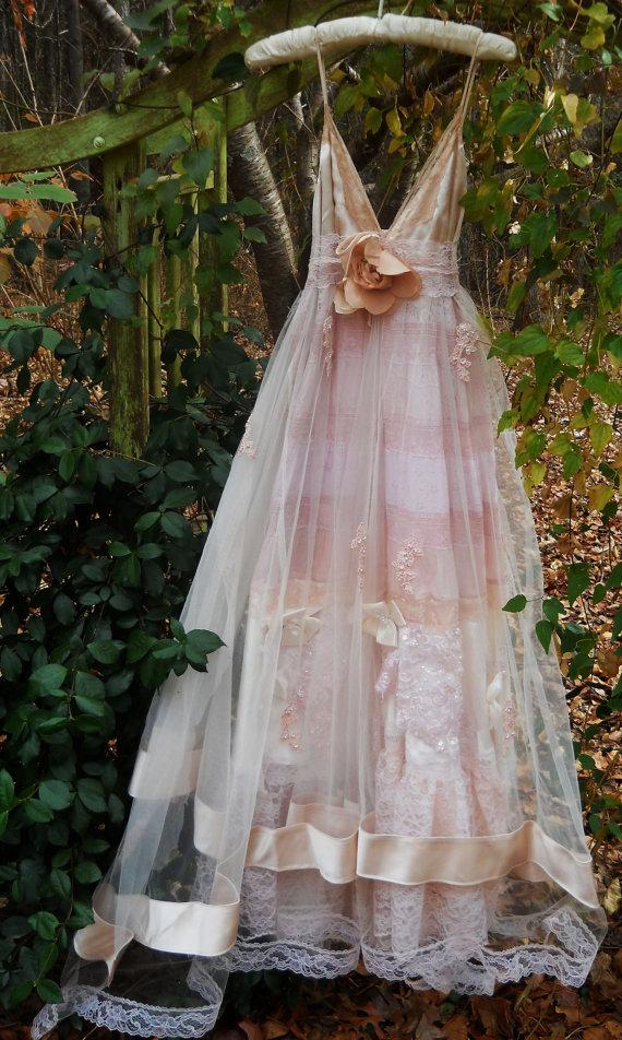 Blush Wedding Dress Vintage Tulle Satin Beading Ethereal Bohemian Medium By Once On Etsy New