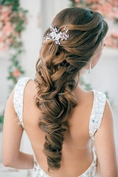 Wedding - Half Up Half Down Curly Wedding Hairstyles With Silver Plated Rhinestone Crystal Hair Comb