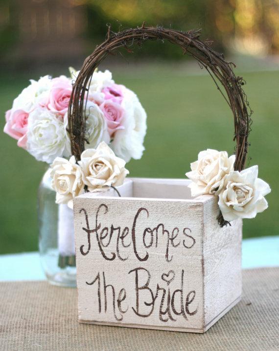 Wedding - Shabby Chic Flower Girl Basket Rustic Wedding Decor (Item MHD20097) - New