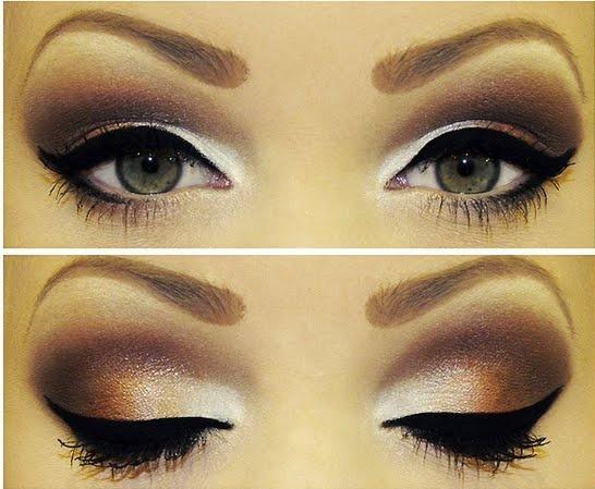 Вечерний макияж в коричневом
