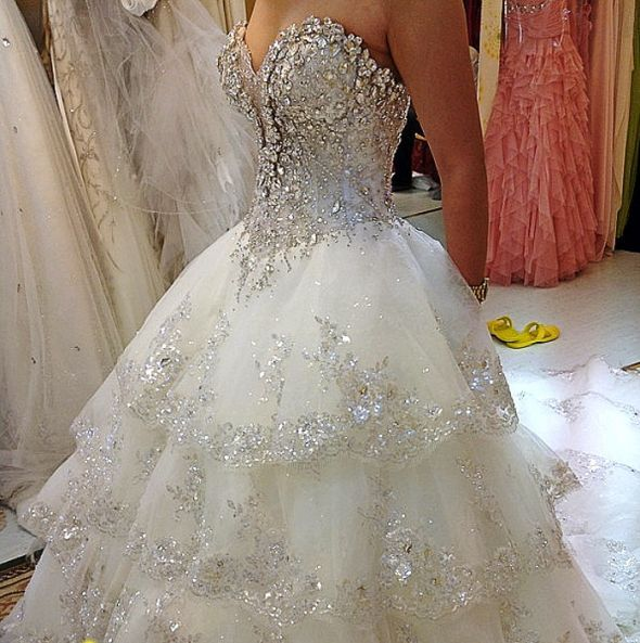 White wedding dresses with bling