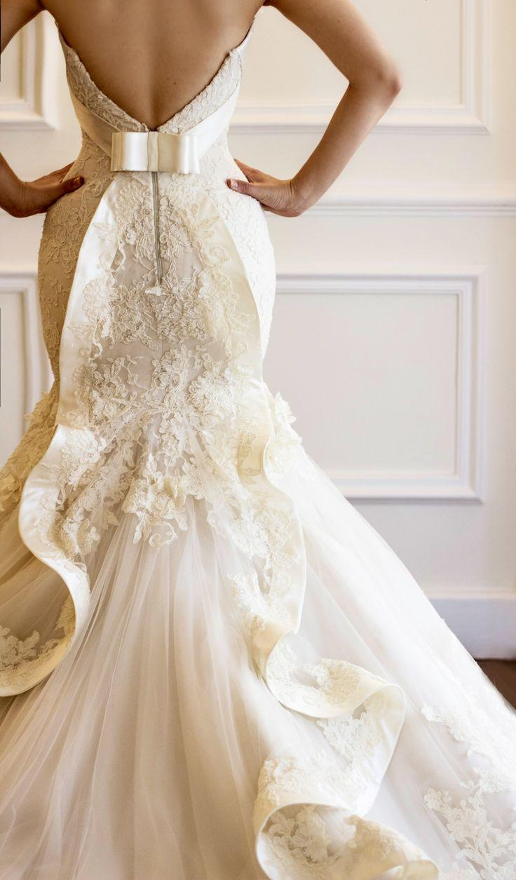 Gorgeous ivory french lace wedding dress with unique for Unique wedding dress styles