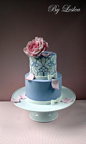 Wedding - Blue Damask Cake