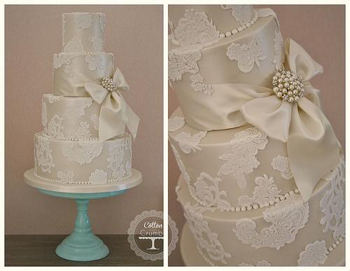 Mariage - Gâteau de mariage Applique dentelle