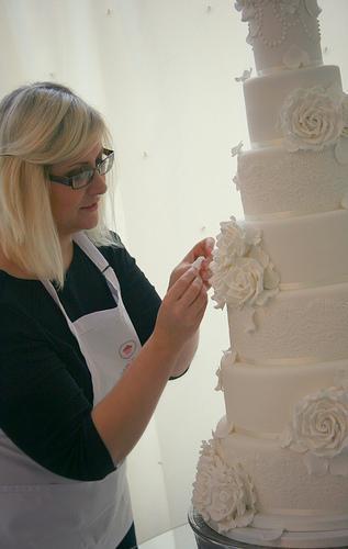 زفاف - وردة بيضاء كعكة الزفاف