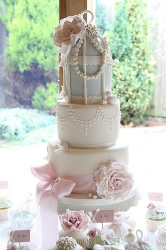 زفاف - خمر البهجة قفص العصافير كعكة
