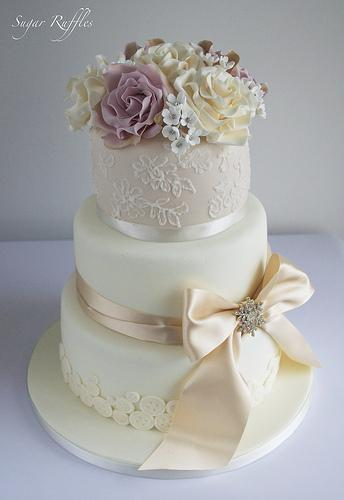 Wedding - Champagne Lace Wedding Cake