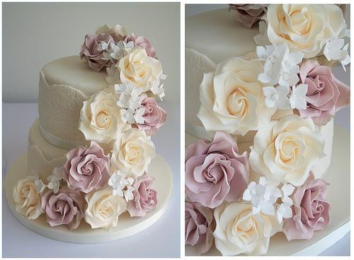 Vintage Fl Wedding Cake