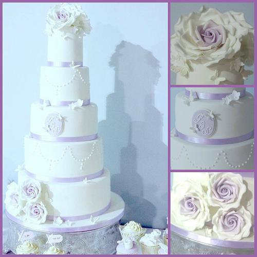 Wedding - Lilac And White Wedding Cake