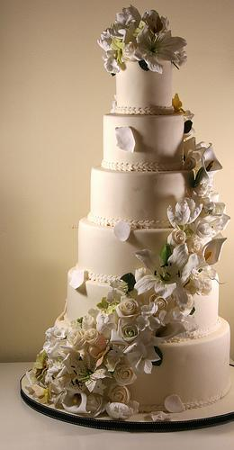 6 Tier Wedding Cake With Sugar Flowers Cascade #1987962 - Weddbook