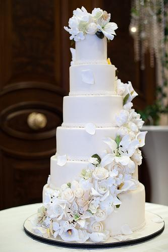 6 Tier Wedding Cake With Sugar Flower Cascade #1987963 - Weddbook