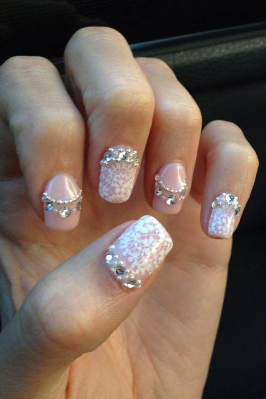 Nail Pink And White Nail Art With Crystals 2008952 Weddbook