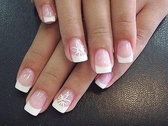 French with flower manicure pinterest