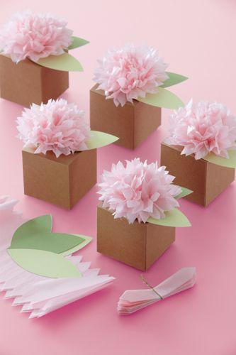Wedding - Martha Stewart Crafts - Vintage Girl Collection - Treat Boxes - Pom Pom Flower