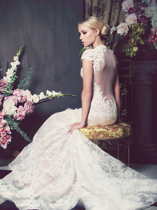 Hochzeit - Low back ivory wedding dress with floral designs