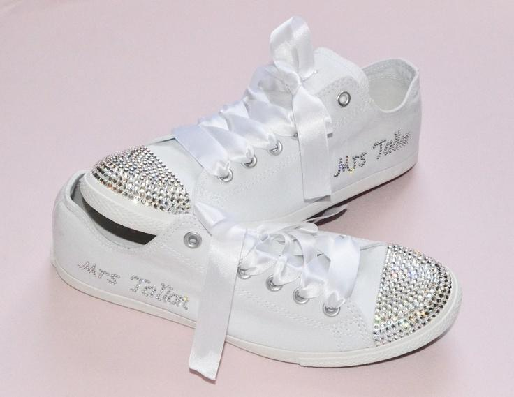 Hochzeit - CUSTOM Crystal Wedding Converse White Slim Sole Pumps Flats All Star Bling Sparkly Rhinestone Bride Bridesmaid