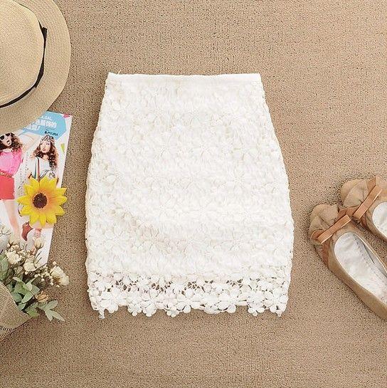 Wedding - White A-line Flowers Crochet Skirt - Sheinside.com