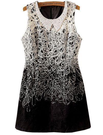 Hochzeit - Apricot Sleeveless Rhinestone Embroidered Sundress - Sheinside.com