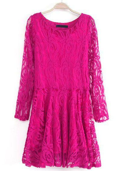 Свадьба - Rose Red Long Sleeve Embroidered Lace Pleated Dress - Sheinside.com