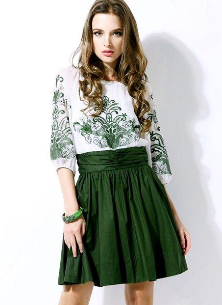 White And Green Embroidery Half Sleeve Chiffon Dress - Sheinside ...