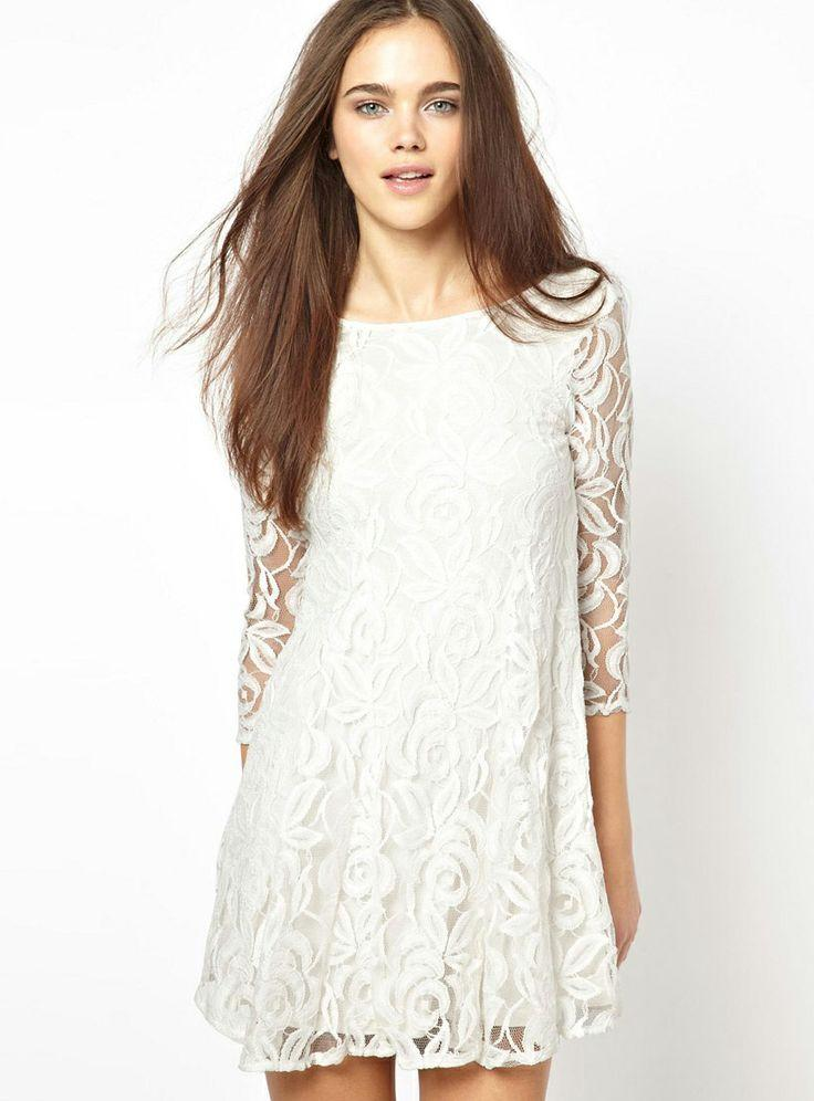 4bc14193f8 White Round Neck Embroidered Ruffle Lace Dress - Sheinside.com ...