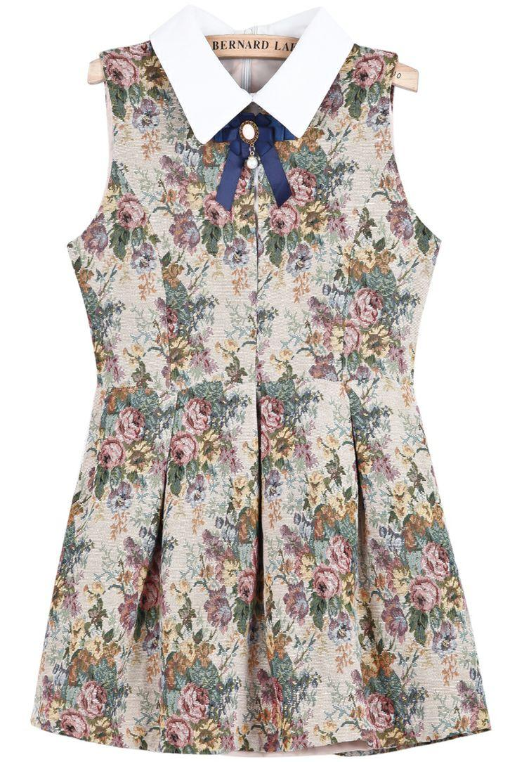 زفاف - Khaki Contrast Lapel Sleeveless Floral Dress - Sheinside.com