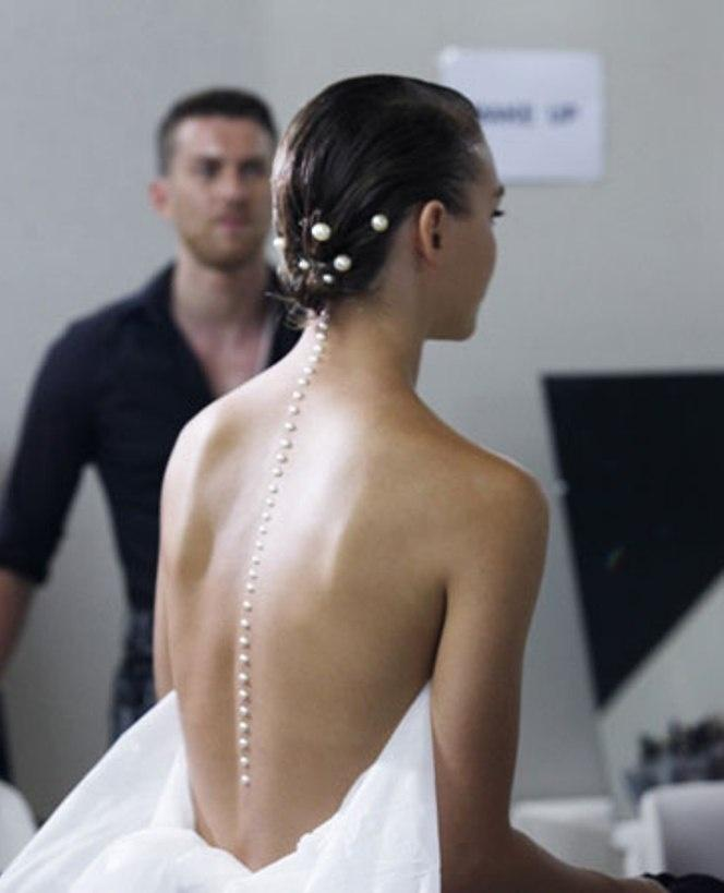 Wedding - A Line Of Pearls Down The Back At Chanel