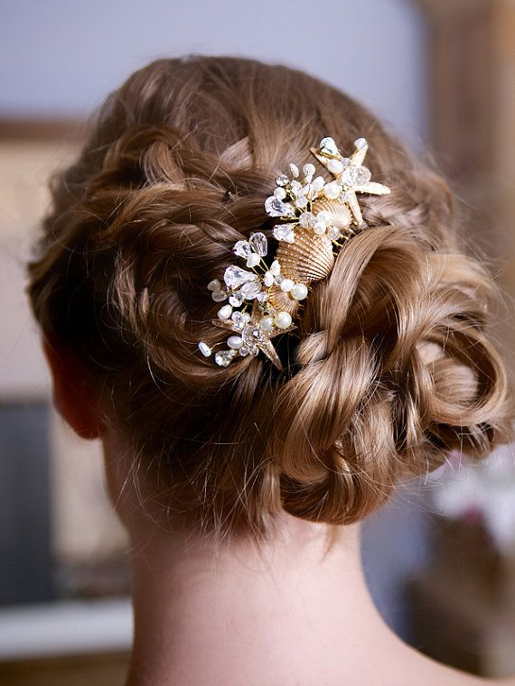 Wedding Starfish Comb With Shells And Crystals