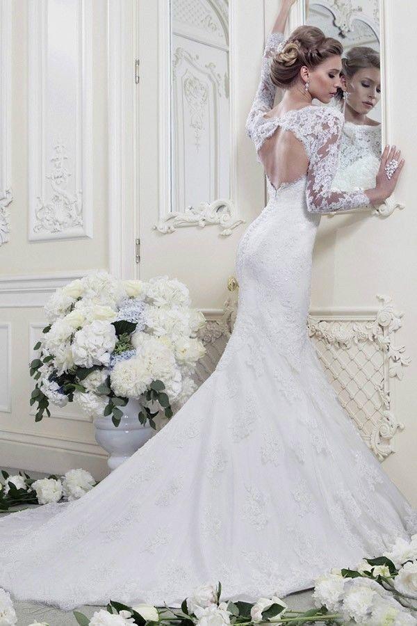 2014 Fashion Weiß / Elfenbein Meerjungfrau-Lang-Hülse Spitze ...