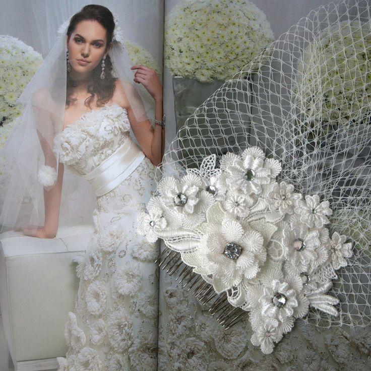 Wedding - Delicate Floral Lace With Birdcage Veil Hair Comb Rhinestone Wedding Bridal Hair