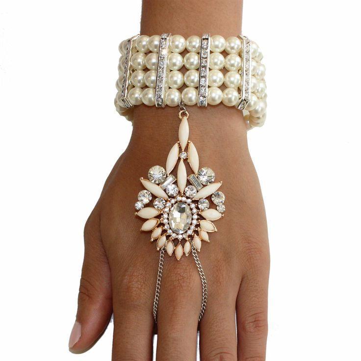 Mariage - Gatsby le Magnifique de 1920 Inspiré chaîne Ivory Pearl Médaillon bracelet en cristal à la main